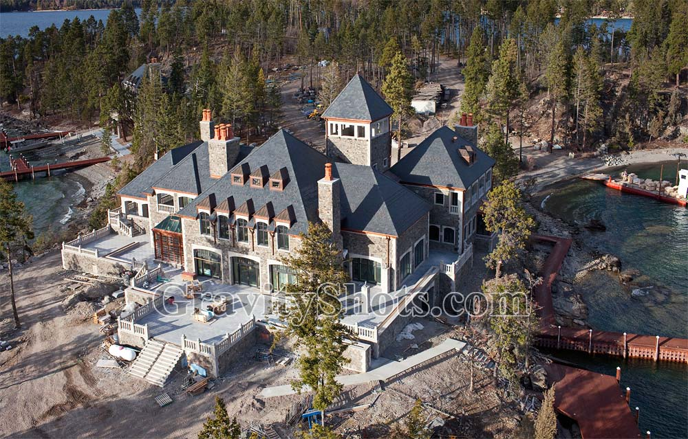 Shelter Island construction Flathead Lake Fall Aerial