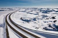 North Dakota Plains I-94 Winter Aerial