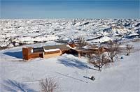 Medora Visitors Center - Closed for the Season Medora, ND Winter Aerial