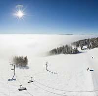Chair 2 poking through the inversion. Big Mountain Winter Panoramic360