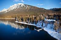 Lake McDonald Lodge Lake McDonald Winter Aerial