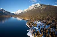 Lake McDonald Lodge West Glacier, MT Winter Aerial