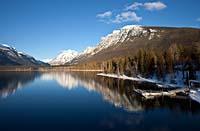 DeSmet Boat Dock on Lake McDonald West Glacier, MT Winter Aerial