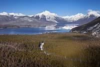 West Glacier, MT Winter Aerial