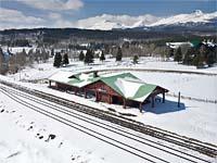 East Glacier Train Station East Glacier Winter Aerial