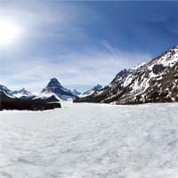 Panoramic over Frozen Two Medicine Lake Two Medicine Spring Panoramic360