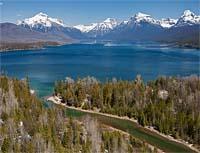 West Glacier, MT Spring Aerial