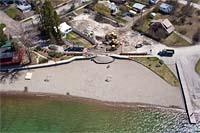 Whitefish City Beach construction Whitefish Lake, MT Spring Aerial