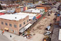 Central Ave getting new sidewalks. Whitefish, MT Spring Aerial