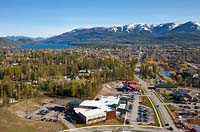 Baker Ave in the Spring Whitefish Lake, MT Spring Aerial