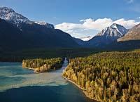 McDonald Creek mixing with Lake McDonald West Glacier, MT Spring Aerial