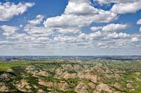 Popcorn clouds over the Badlands Medora, ND Summer Aerial