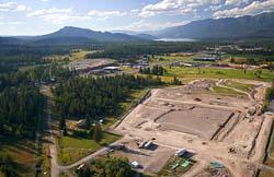 North Valley Hospital progress Whitefish Lake, MT Summer Aerial