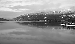 B&W from the heli Whitefish Lake, MT Winter Aerial