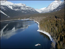 Going to the Sun from Lake McDonald Lodge (heli shot) Glacier Park Winter Aerial