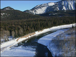 Middle Fork river access at West Glacier (heli shot) Glacier Park Winter Aerial