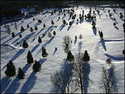 West Glacier golf course (heli hot) Glacier Park Winter Aerial