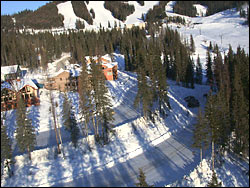 Moose Road property below Big Mountain Village (heli shot) Big Mountain Winter Aerial