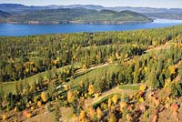 Fall Golf Whitefish Lake, MT Fall Aerial