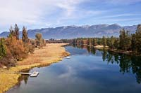 Swan River Reflections BigFork, MT Fall Aerial