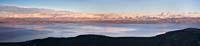 Snow Ridge above the Lake Flathead Lake Winter Aerial