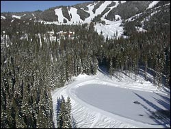 Jumping Rainbow Trout Pond below Big Mountain Big Mountain Winter Aerial