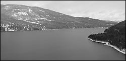 Whitefish Lake from East Side Whitefish Lake, MT Winter Aerial