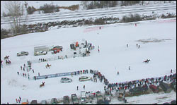 Ski Joring - the start Whitefish, MT Winter Aerial