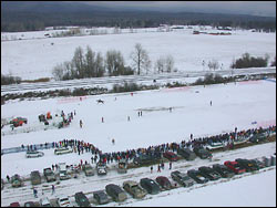 Ski Joring - the finish Whitefish, MT Winter Aerial