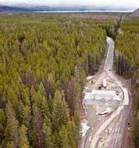 West Glacier Entrance Construction West Glacier, MT Spring Aerial