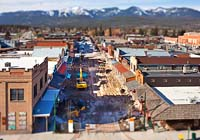 Miniature effect over Central Ave construction Whitefish, MT Spring Aerial