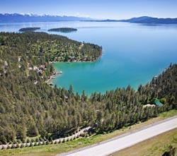 Shelter Bay, Flathead Lake Flathead Lake Spring Aerial