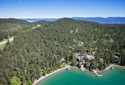 Shelter Bay, Rollins Montana Flathead Lake Spring Aerial