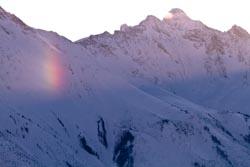 Sunrise Rainbow Golden, Canada Winter Landscape