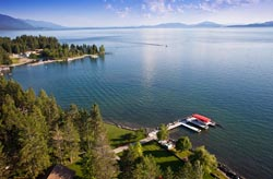 14761 Romain Dr, Woods Bay, Montana 7 acre Home For Sale Flathead Lake Summer Aerial