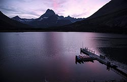 Sunset on Swiftcurrent Lake Glacier Park Summer Lakes
