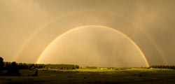 Vibrant Double Rainbow Whitefish, MT Summer Landscape