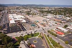 Downtown Kalispell, Montana Kalispell, MT Summer Aerial