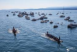 Dragon Boat finish line BigFork, MT Summer Aerial