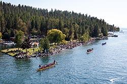 Dragon Boats going back to the start BigFork, MT Summer Aerial