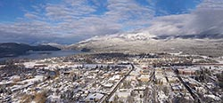 Whitefish town in the spotlight Whitefish, MT Winter Aerial