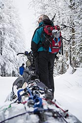 Chopper comes in via backpack Nikko Cabin, MT Winter Snowmobiling