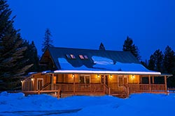 Montana Retreat For Sale 6410 Farm to Market Whitefish, MT Winter Twilight