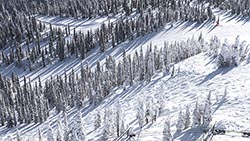 Backside Big Mountain Winter Aerial