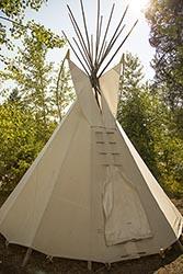 Teepee at Lake Five Resort, West Glacier, Montana Lake Five Summer Aerial