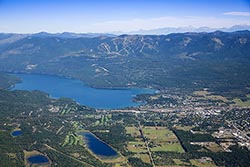 Our little town Whitefish, Montana Big Mountain Summer Aerial