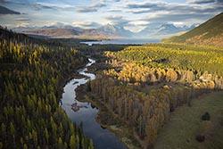 Lake McDonald West Glacier, MT Fall Aerial