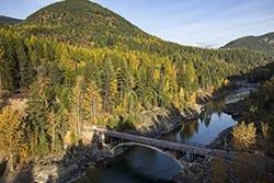 Old Bridge West Glacier, MT Fall Aerial