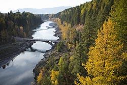 Belton Bridge, West Glacier, Montana Middle Fork Fall Aerial