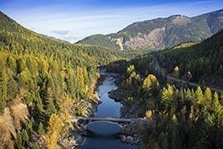 Old Bridge into Glacier National Park Glacier Park Fall Aerial